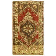 Vintage Turkish Oushak Rug Yastik Scatter Rug, Small Accent Rug