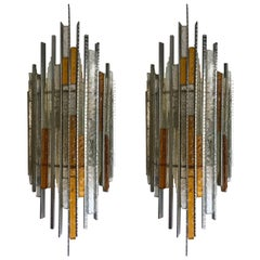 Pair of Sconces Hammered Glass Iron by Biancardi and Jordan Arte, Italy, 1970s