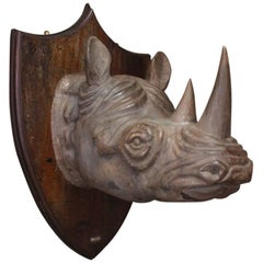 Decorative 1950s Carved Wooden Rhino Head