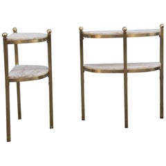 Pair of Brass Bedside Tables and Clear Onyx Luciano Frigerio Attributed