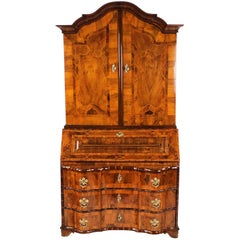 18th Century Rare Baroque Secretary circa 1740-1750, Walnut-Tree & Plum Veneered