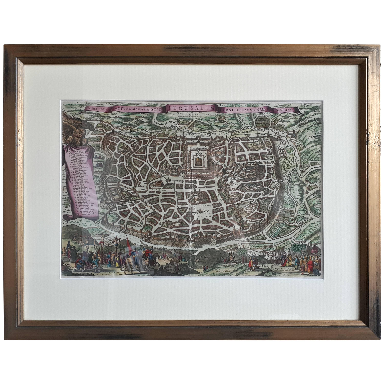Antique Map of the City of Jerusalem by N. Visscher, 1702