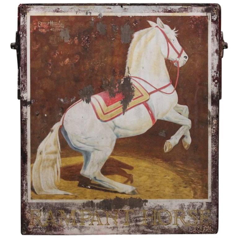 "Mid-20th Century ""Rampant Horse"" Painted Pub Sign"