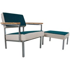 Mid-Century Modern and Industrial Lounge Set with Hocker, 1960s