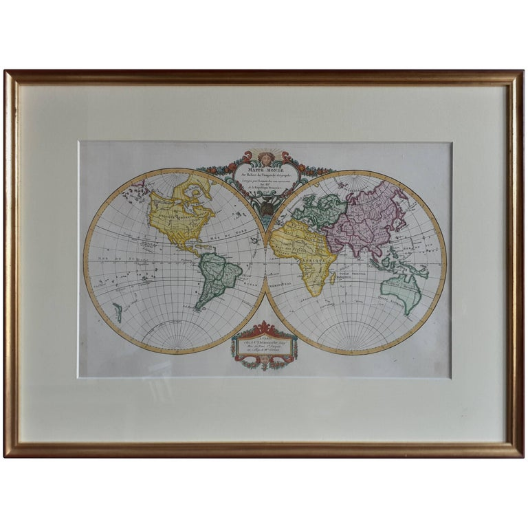 Antique Map Of The World By R De Vaugondy 1795 For Sale At 1stdibs