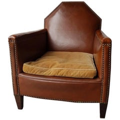 Dutch Leather Cognac Leather Club or Lounge Armchair with Copper Nails