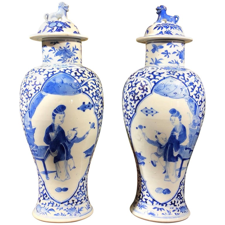 Pair of Chinese Export Vases and Covers, Kanxi Revival, 19th-20th Century