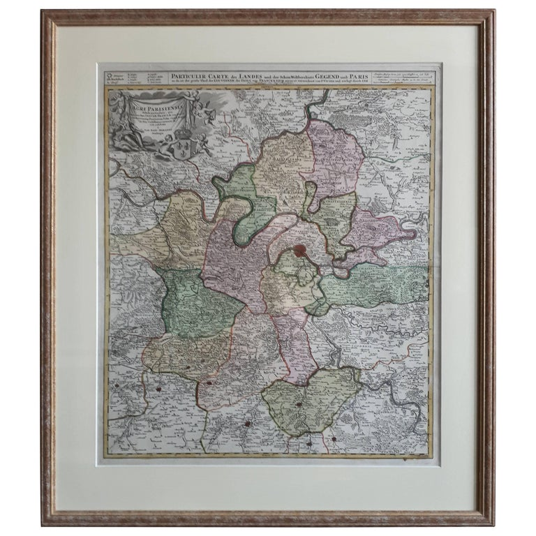 Antique Map of the Region of Paris 'France' by H. Heirs, circa 1720 For Sale