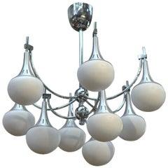 Gaetano Sciolari Aluminium and Opaline Nine-Light Chandelier, 1960s