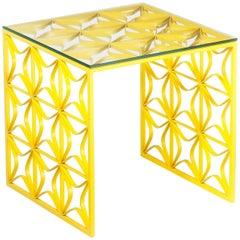 São Cristóvão Brazilian Contemporary Graphic Pattern Cut Metal and Side Table