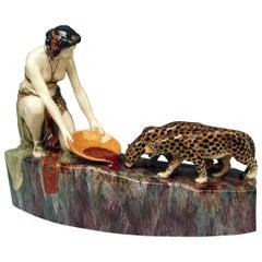 Goldscheider Friedrich Vienna Oriental Lady Figurine Group, circa 1925