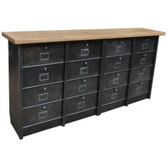 Roneo Iron Clapet Cabinet with Solid Oak Top