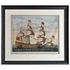 Print of the Royal Flagship of the English Fleet by P. Mortier, circa 1693