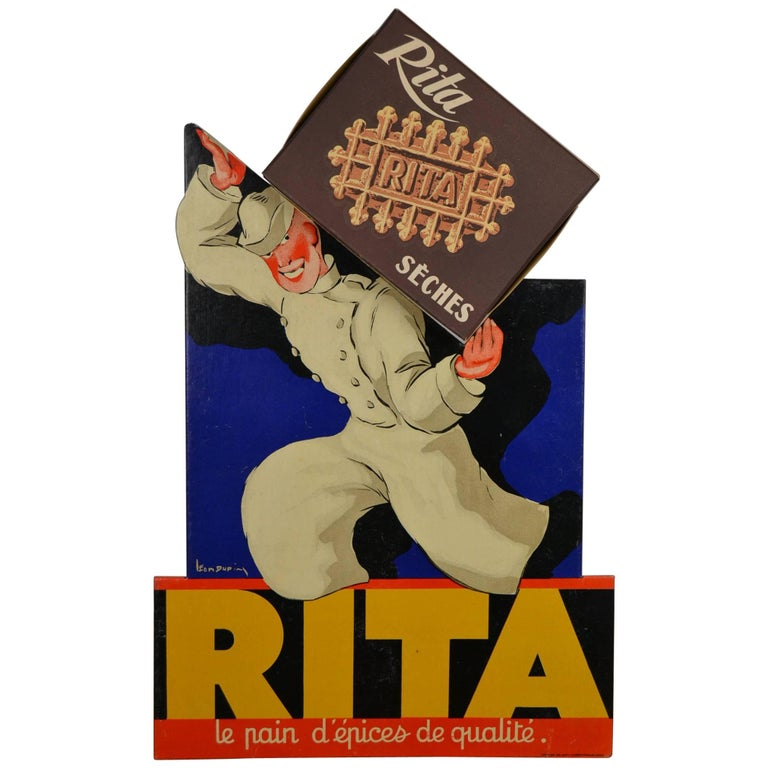1940s French 3-D Litho Cardboard Advertising Sign for Rita Waffles, Leon Dupin