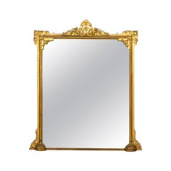 Antique Overmantel Mirror, English Victorian, Wall Giltwood and Gesso