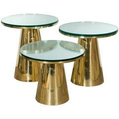 Set of Three Brass and Mirror Guéridons, Italy, 2017