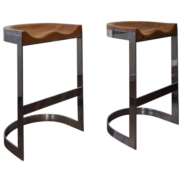 Pair of Oak and Chrome Bar Stools by Warren Bacon California Design