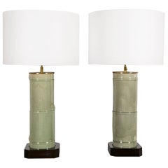 Pair of Large Cylindrical Céladon Lamps