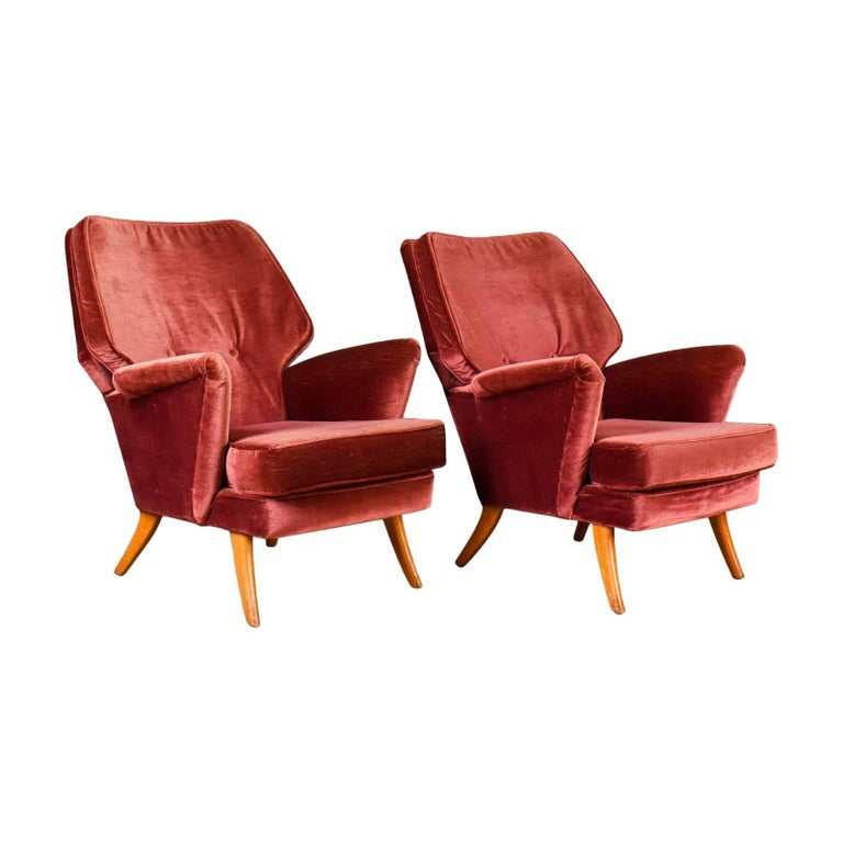 Pair of Midcentury Armchairs, Vintage Club Designer Easy Chairs, circa 1950