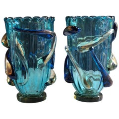 Late 20th Century Pair of Turquoise Blue & Gold Murano Glass Vases by Costantini