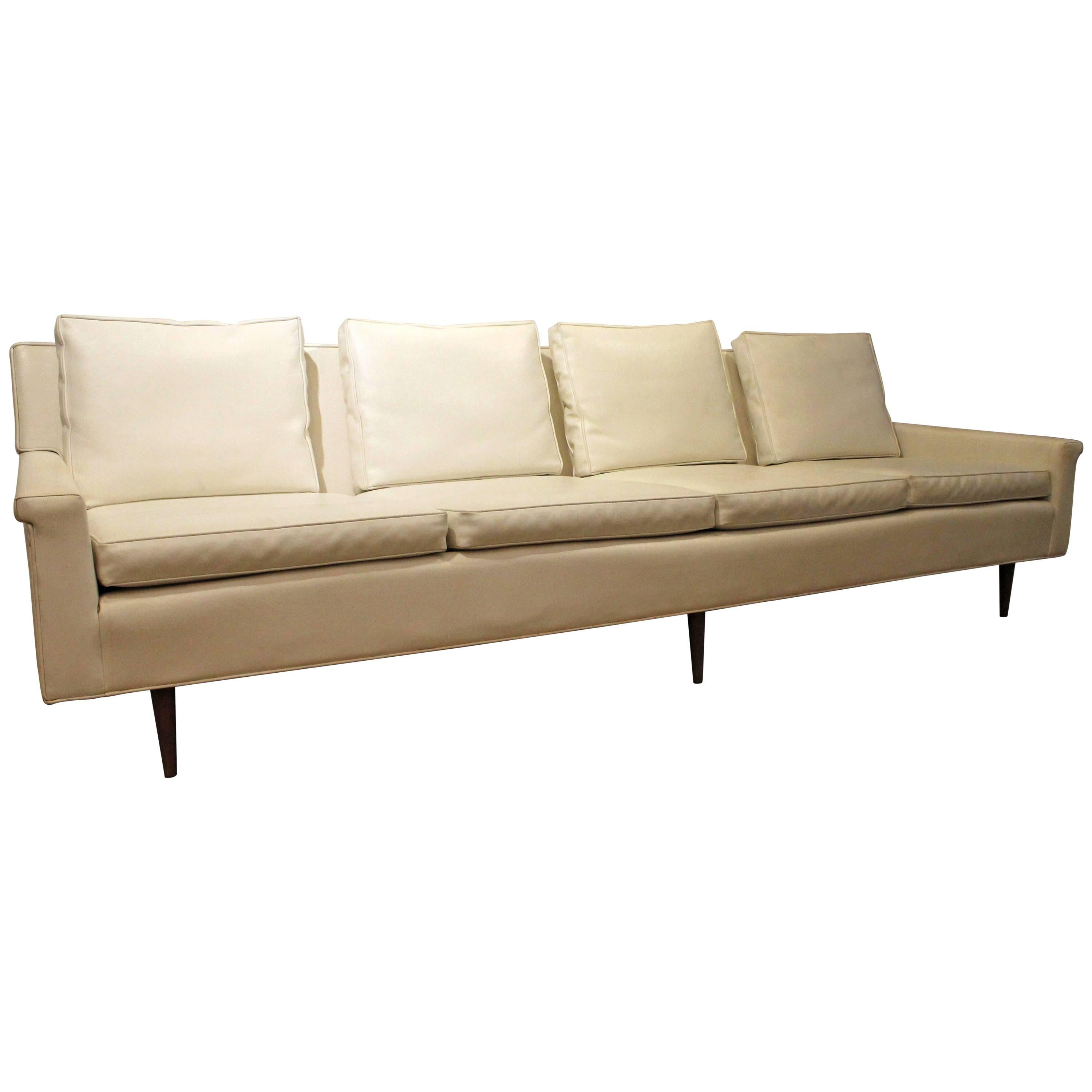 Mid Century Modern Milo Baughman For Thayer Coggin Vinyl Sofa For Sale