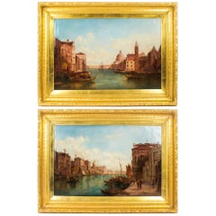 Antique Pair Oil Paintings Grand Canal Venice Alfred Pollentine, 19th Century