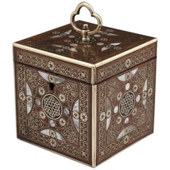 Antique Persian Single Brass Inlaid Tea Caddy 19th Century