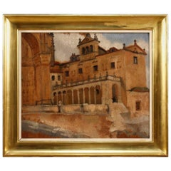 Belgian Signed Painting Oil on Board Landscape with Architectures 20th Century