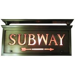 Brass With Tiffany Glass NYC Electric Subway Sign, circa 1920