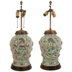 Pair of Asian Chinese Style, Large Ginger Jar Shaped Porcelain Lamps