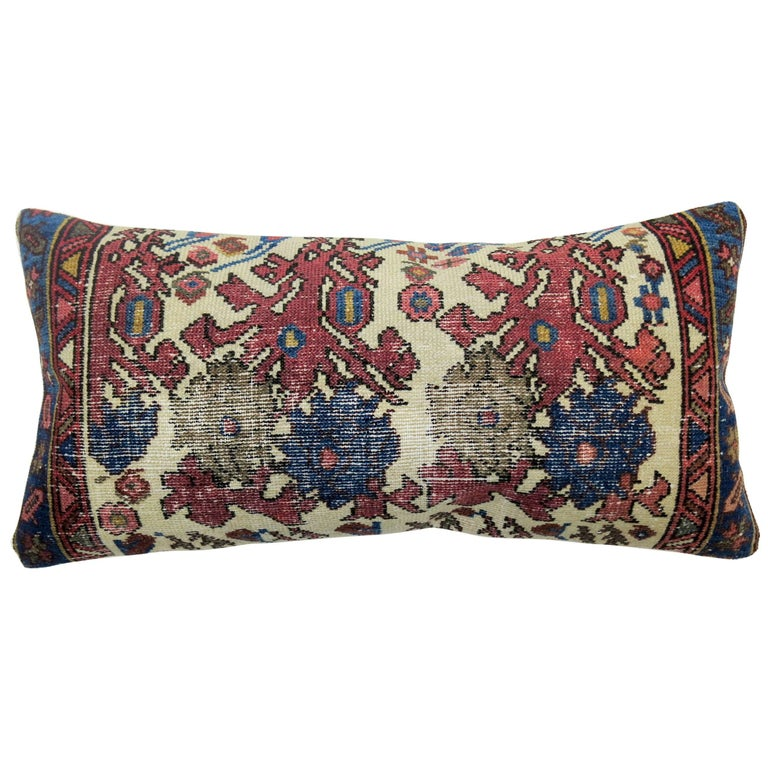 Shabby Chic Persian Floral Antique Rug Bolster Pillow