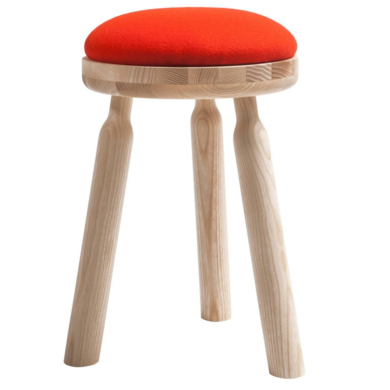 Ninna Stool by Carlo Contin with Ashwood and Wool Fabrics For Sale
