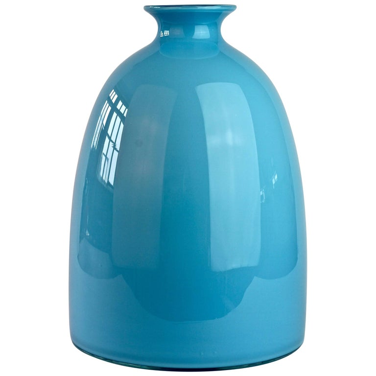 Colorful Cenedese Tall Blue Vintage Italian Murano Glass Vase, circa 1960s