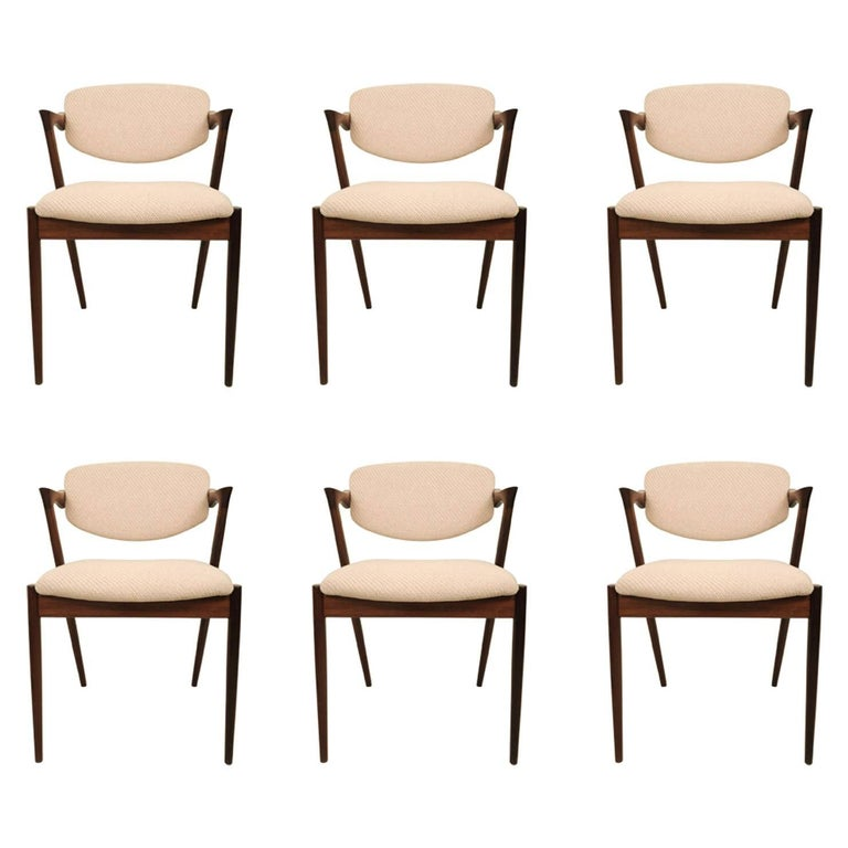 Kai Kristiansen Six Rosewood Dining Chairs Model 42 For Sale