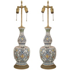 Pair of English Victorian Two-Tiered Porcelain Lamps