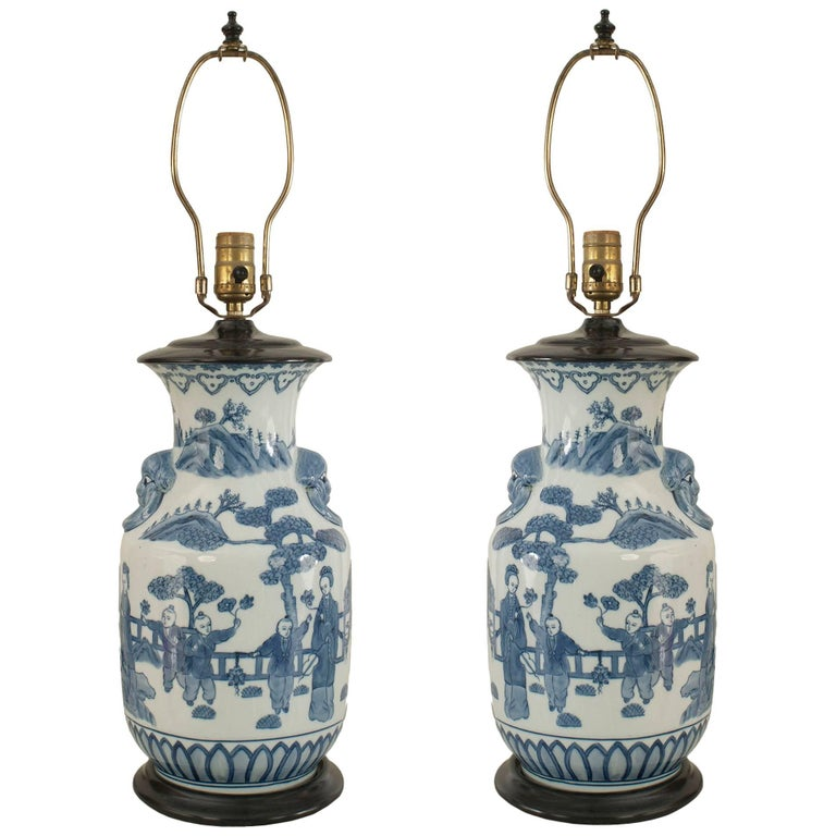 Pair of Asian Chinese Style Blue and White Vase Form Table Lamps