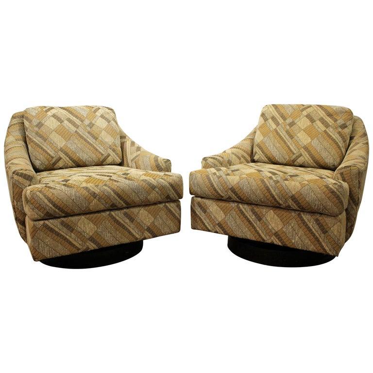 Pair of Mid-Century Modern Milo Baughman Selig Geometric Swivel Club Chairs