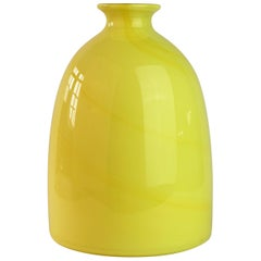 Colorful Cenedese Tall Bright Yellow Vintage Italian Murano Glass Vase