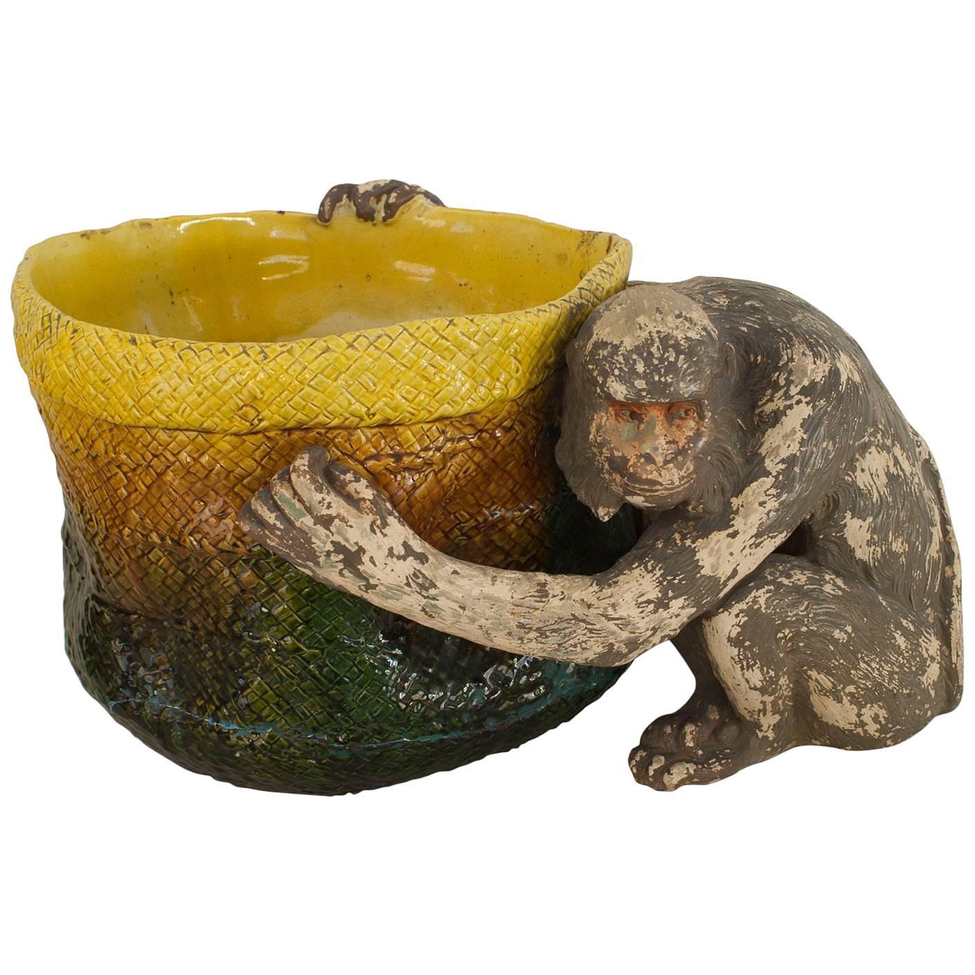 English Victorian Majolica Porcelain Monkey Pot