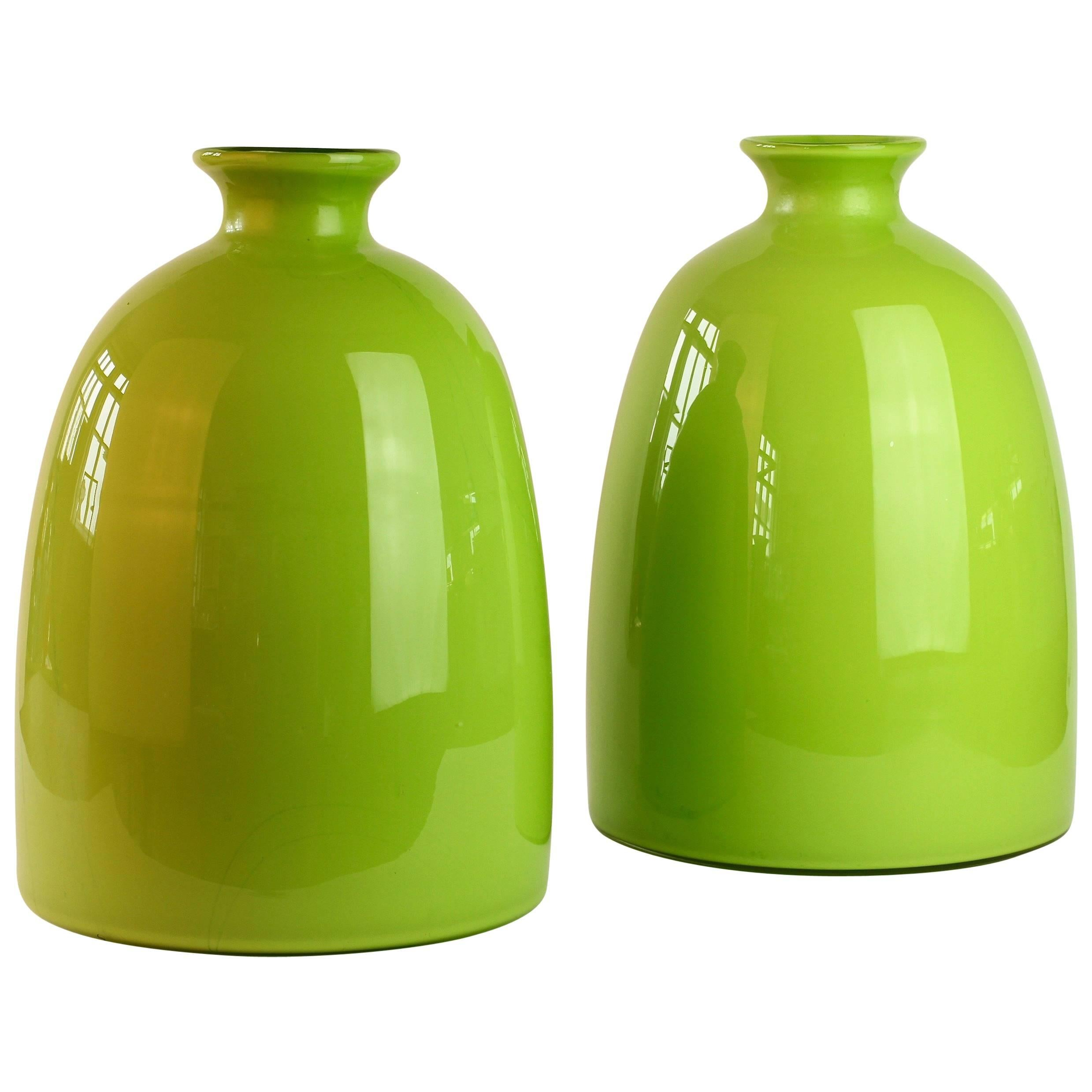 Colorful Tall Pair of Green Vintage Italian Murano Glass Vases by Cenedese