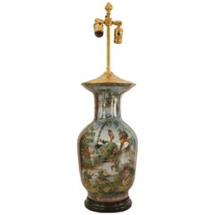 Asian Chinese Style, 19th Century Glass Shaped Vase Mounted as a Table Lamp