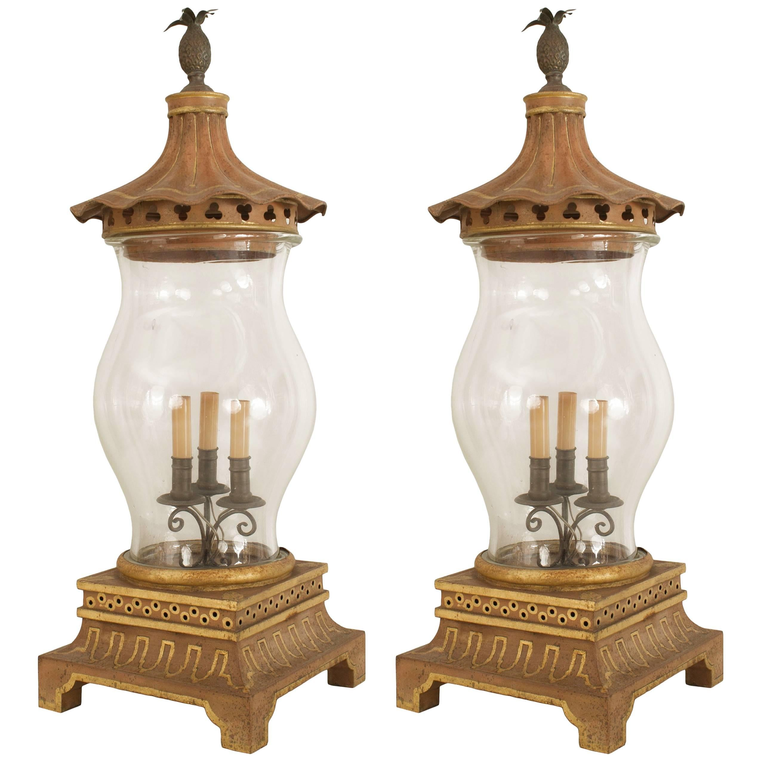 Pair of English Regency Style Gilt and Tole Hurricane Lamps