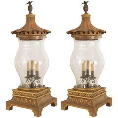 Pair of English Regency Style 1960s Hurricane Form Table Lamps
