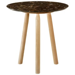Ninna Round Table by Carlo Contin with Ash Wood and Marble Top