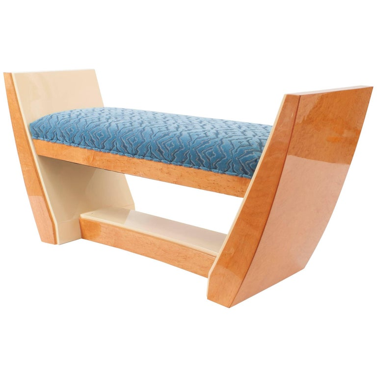 French Art Deco Style 'Modern' Maple and Sycamore Wood Bench For Sale