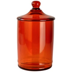Cenedese Amber Glass Apothecary Jar or Urn with Lid Murano, Italy, circa 1960s