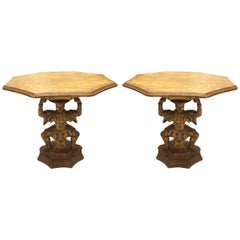 Pair of Italian 1950s Carved Giltwood Low End Tables