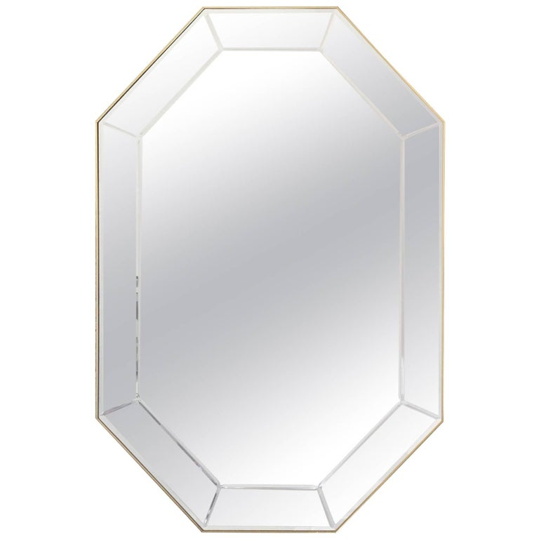 LaBarge Octagonal Mirror in Brass Frame For Sale