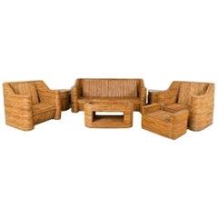 Seven-Piece Split Bamboo Veneer, 1970s Salon Set
