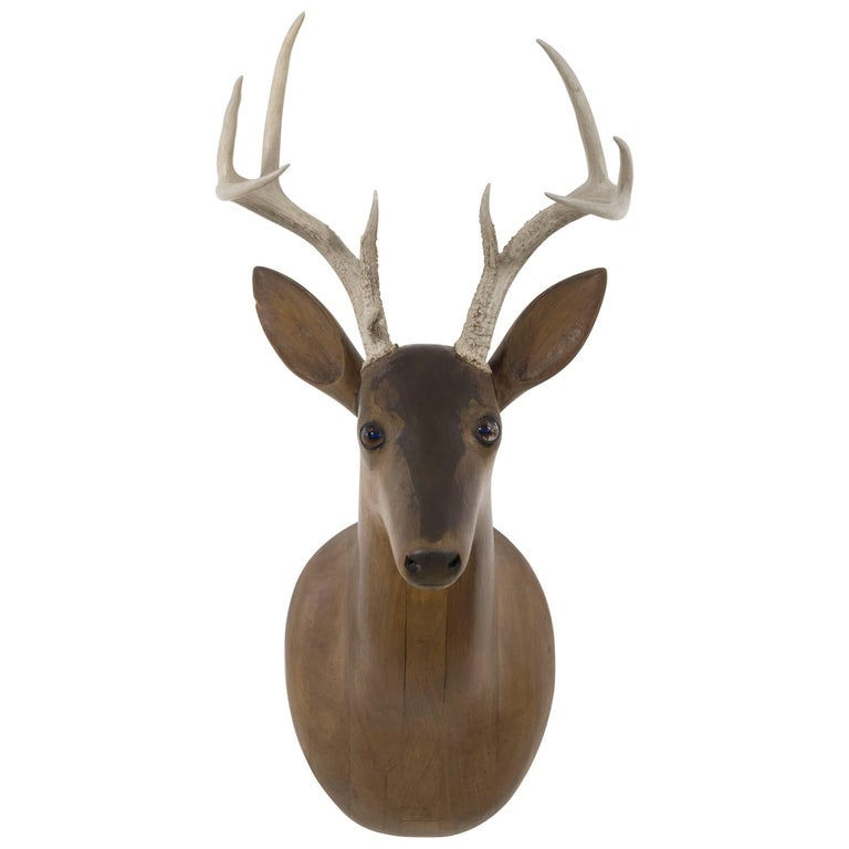 Folk Art Carved Wooden Deer Head